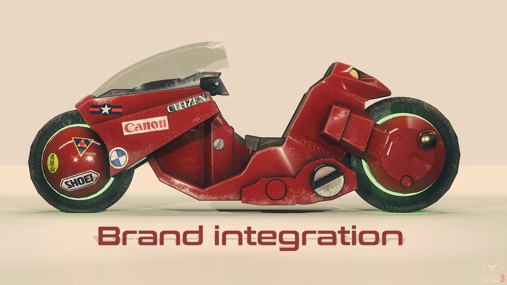Brand insertion en motocicleta de Akira